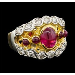1.71 ctw Ruby and Diamond Ring - 18KT Yellow Gold and Platinum