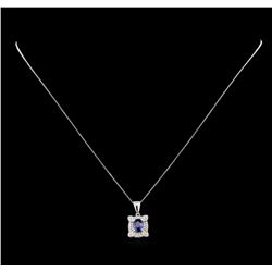 0.99 ctw Sapphire and Diamond Pendant With Chain - 14KT White Gold