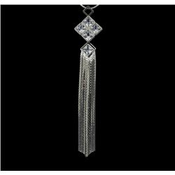 Crystal Square Pendant Tassel Necklace - Rhodium Plated
