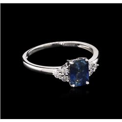 1.01 ctw Blue Sapphire and Diamond Ring - 14KT White Gold