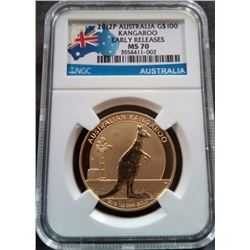 2012 MS 70 $100 Gold Kangaroo Early Release- NO RESERVE