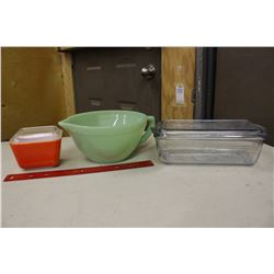 Fire King Oven Ware Bowl, Fire King Refrigerator Dish& Pyrex Refrigerator Dish