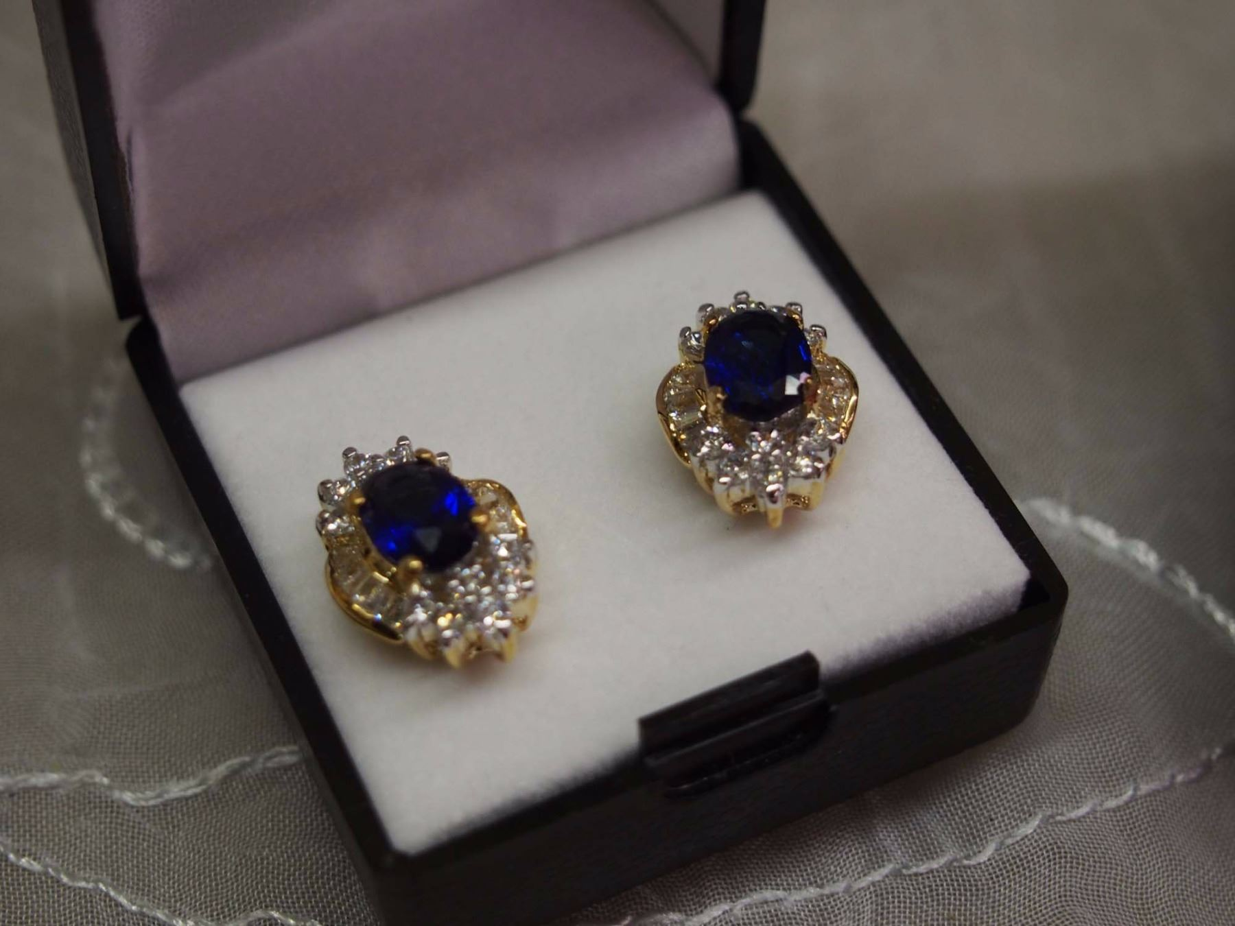 plated pair two of with eme faux earrings cz sapphire oval tone image s glass
