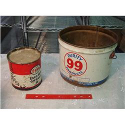 Pair Of Tins (Esso Grease, Purity 99 Pail)