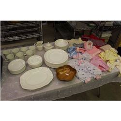 Set of Dishes (Made In England)& Doll/Cabbage Patch Clothing w/Rubbermaid Tub