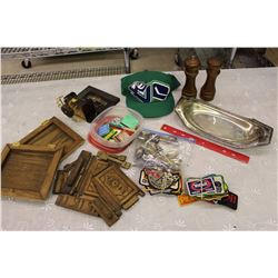 Lot of Misc (Oil Co. Badges, Miniature Spoons, Matches, Etc;)