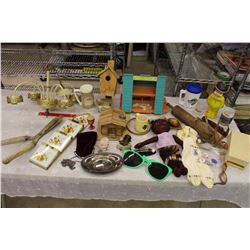 Lot of Misc (Vintage Chandelier, Toys, Rolling Pin, Etc;) w/Tote Container