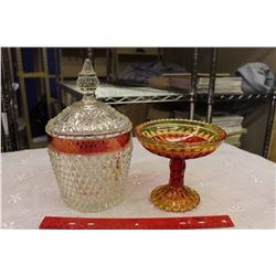 Kings Crown Carnival Glass (2 Pieces)