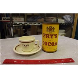 """Vintage Fry's Cocoa Tin& """"Duraline"""" Cup&Saucer"""