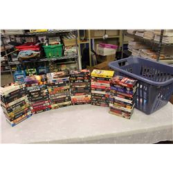 Lot of VHS Movies (Toy Soldiers, The Fury, Highlander, Etc;)w/Rubbermaid Hamper