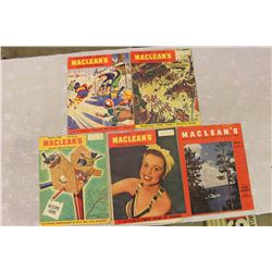 1946 Maclean's Magazines (4)& 1943 Maclean's Magazine Cover