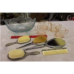 Vintage Glassware, Brushes, Comb& A Mirror