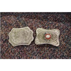 Two Belt Buckles (1 Marked 'Canadian Chianina Association)w/Metal Case