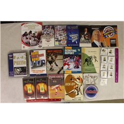 Lot of Vintage Sports Related Misc (Books, CD's, VHS, Calendar, Puzzle, Pins)