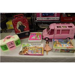 Vintage Barbie Related: 1965 Barbie, 1991 Rock&Roll Radio House, Suitcase,Etc