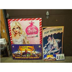 Lot Of Cardboard Advertising (4) (Barbie, Coca-Cola, Madden)