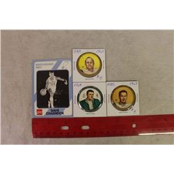 1963(2),1964(1) CFL Potato Chip Discs& A 1989 Coco-Cola Dave Chadwick NIT Card