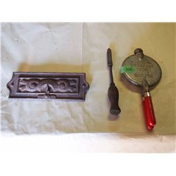 Stove Door, Krumkake Iron Maker& A Blacksmith Tool