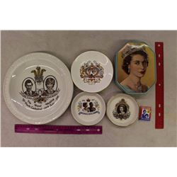 Lot of Royalty Items: 4 Plates, 1 Tin& Matches