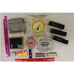 Smoking Related Items: Ashtrays(3), Rollers(6), Ladies Cig Case, Vogue Papers&Lighters
