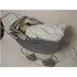 1940's Doll Carriage& Porcelain Doll