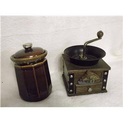 Coffee Grinder& Stoneware Canister