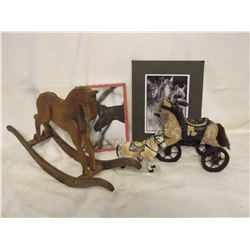 Horse Related Items: Wooden Toys(2), Picture, Box& Ornament