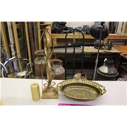 Brass Lg. Cast Candle Stand& Brass Basket (Italy)