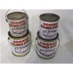 Rogers Syrup Tins(4) w/Lids (3 Different Styles)