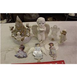 Angel Ornaments (7)(Musical w/Lights, Bell, Xmas Tree Ornaments(3))