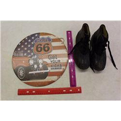 Route 66 Sign& 1930's Children Lace Up Rubber Boots