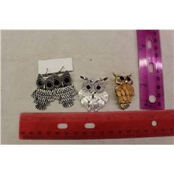 Owl Jewelry: 2 Brooches& One Pair of Earrings