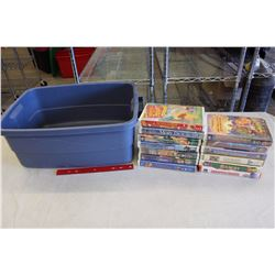 Rubbermaid Tub w/VHS(13)(Winnie The Pooh, Bambi, Babe, Moby Dick, Etc;)