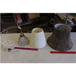 Vintage Lamp Shades& Electric Lamp (Working)