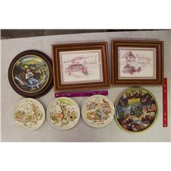 Collector's Dessert Plates(4),Pair of Wooden Framed Farm Drawings& USA Bicentennial Plate