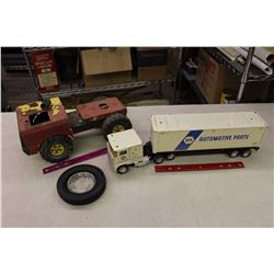 Napa Automotive Parts Toy Truck, Vintage Toy Tractor& Rubber Tire Ashtray