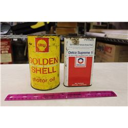 Shell 'Golden Shell' Motor Oil Tin(1 Quart)& A Delco Supreme Brake Fluid Tin(.57 Litres)