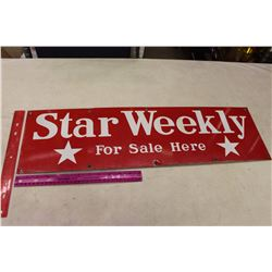 Star Weekly 'For Sale Here' Red Porcelain Sign (28 x8 )