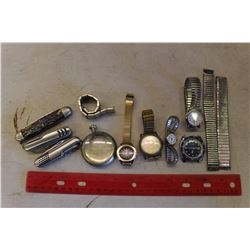 Lot Of Vintage Knives And Pocket Watches