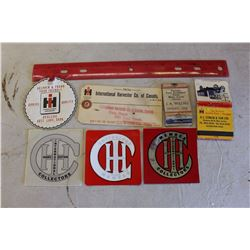 Lot Of International Harvester Advertising Related (Decals, Tags, Etc)