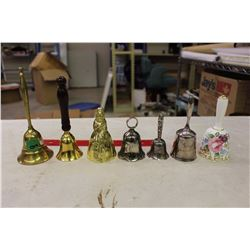 Collection of Brass, China& SP Dinner Bells (7)