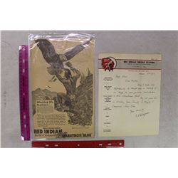 Vintage Red Indian Newspaper Article& Service Invoice