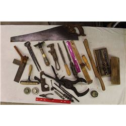 Lot Of Antique Tools (Drill Bits, Saws, Squares Clamps, Etc)