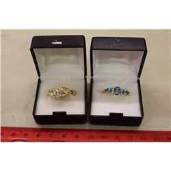 Wyndsor CZ Cluster&Pear Shaped Glass Blue Topaz Rings(Both 14kt Gold Plated)