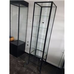 "Glass And Metal Display Case W/ Door, Lock, And Key, 17 3/4""x 15 3/4"" x 71"""