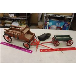 Vintage Wooden Trailer Toys& A Wooden Shoe