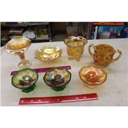 Lot of Carnival Glassware (7 Pieces)