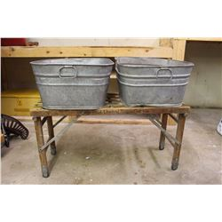 Vintage Wooden Wash Tub Stand w/Tubs (2)