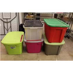 Lot of Big Plastic Totes/Containers (5)w/Matching Lids