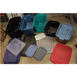 Lot of Plastic Totes/Container w/Non-Matching Lids